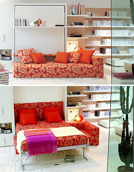 transforming double bed couch