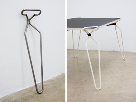 Diy table crutches transform flat surfaces into tables for Table exterieur design aluminium