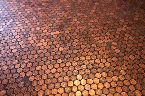 Cheap Luxury? DIY Round Floor Tiles from Glazed Pennies