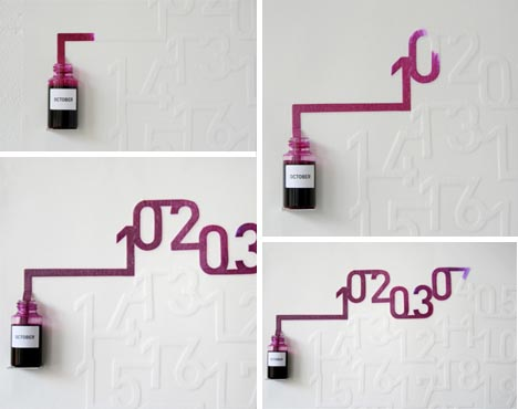 Ink + Capillary Action = Dynamic Wall Calendar Design