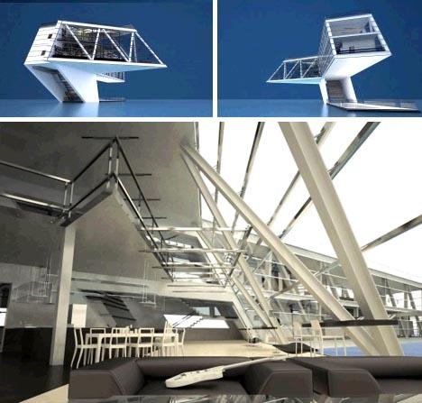 futuristic minimalist floating home