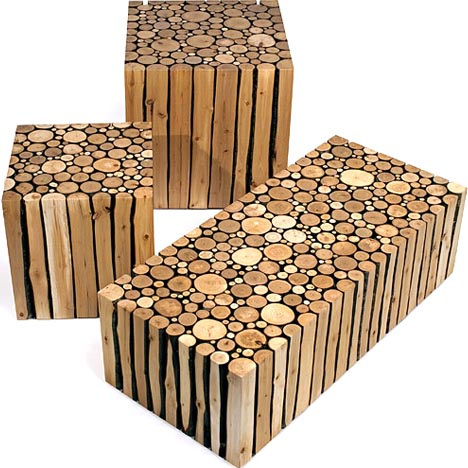 Modern Wood Furniture creative custom log craft: rustic modern wood furniture