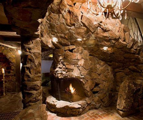 mountain lodge fireplace