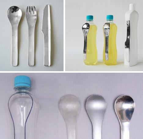 plastic use bottle flatware