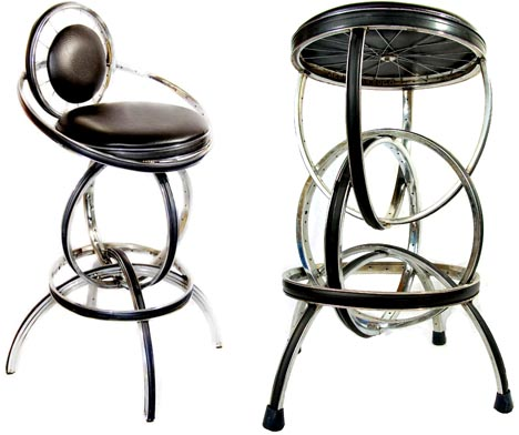 recycled leather metal stools