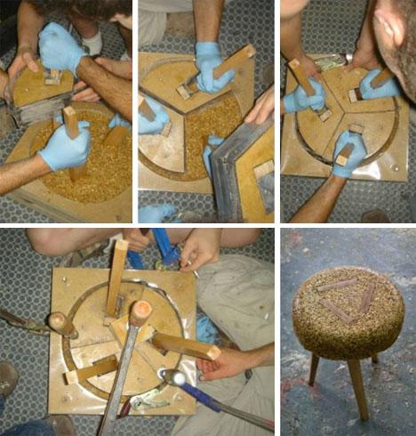 upcycled wood stool design