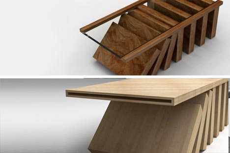 Wood Gl Coffee Table