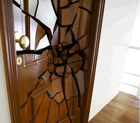 wood modern art door
