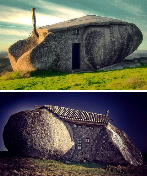 giant boulder house building
