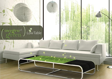 Eco friendly coffee table grows greener with every spill Eco friendly coffee table