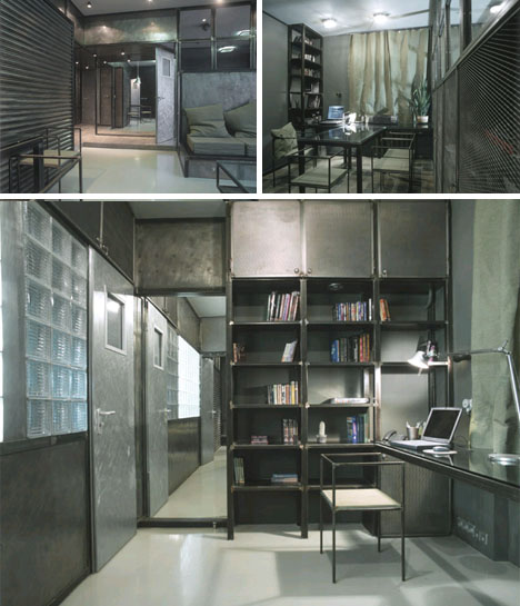 industrial metal glass condo