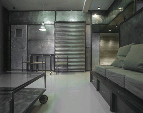 Industrial Interior Intense Modern Metal Apartment Design