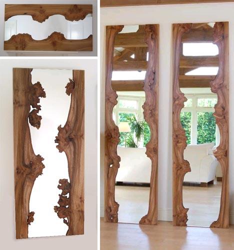 Rough Reflection Natural Edge Wood Framed Wall Mirrors
