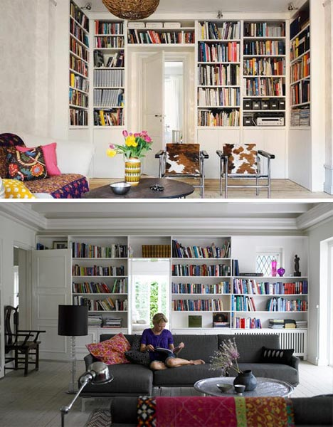 overhead wall book shelves