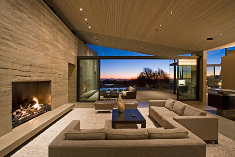 rammed earth home interior