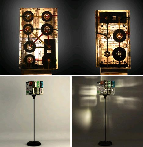 Retro lampshades vintage tapes into table floor lamps recycled lampshade idea aloadofball Gallery