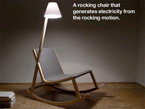 Wooden Rocking Chair Rocker Powered LED Lamp Design
