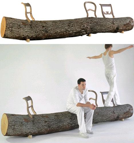sold wood log bench