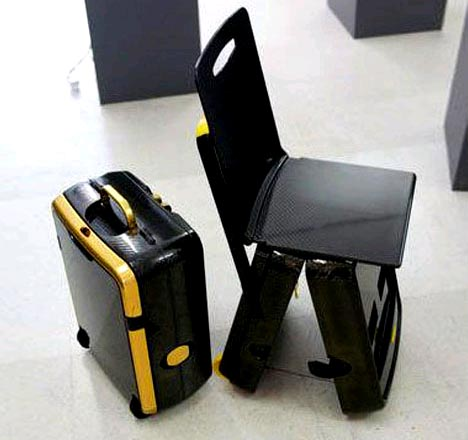Awesome Small Upright Suitcase Converts Into A Folding Travel Chair Uwap Interior Chair Design Uwaporg