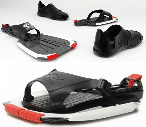 5162e36933a9 Amphibious Footwear  Swimming Sandals + Fold-Out Fins