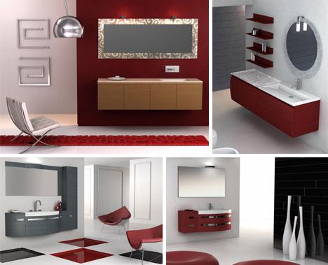 Bathroom design 22 designer ideas 3d color schemes - Red bathroom color ideas ...