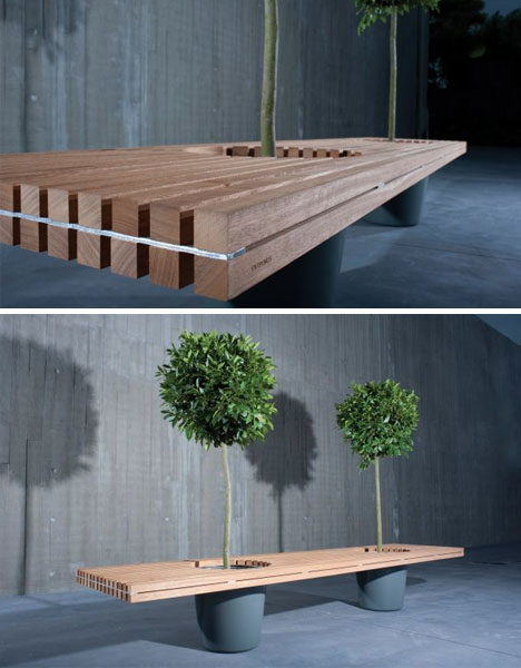 bench and wooden green planter