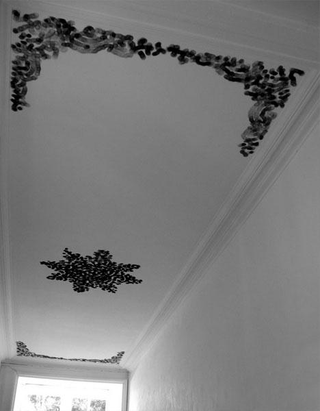 ceiling black white mural