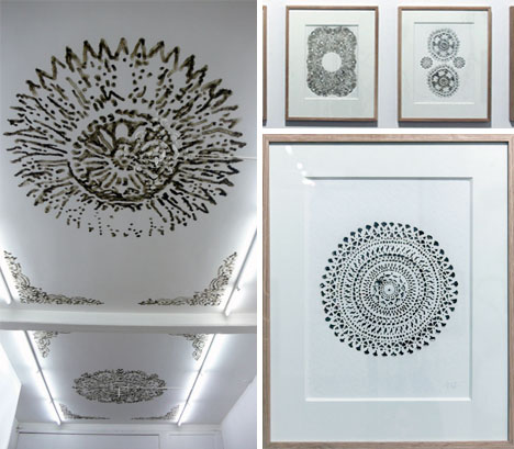 ceiling mural patterned framed