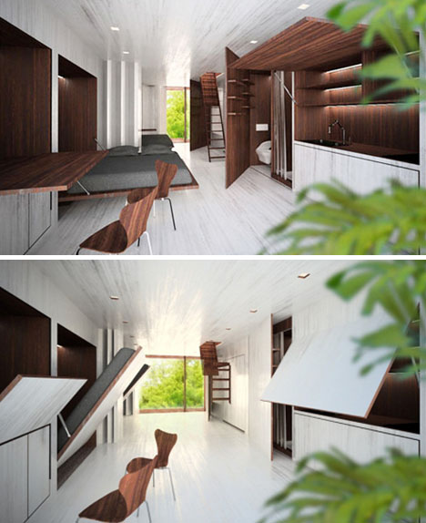 ecomobi fold out living spaces Futures Prefabricated: 7 X Stunning Small Space Design Ideas