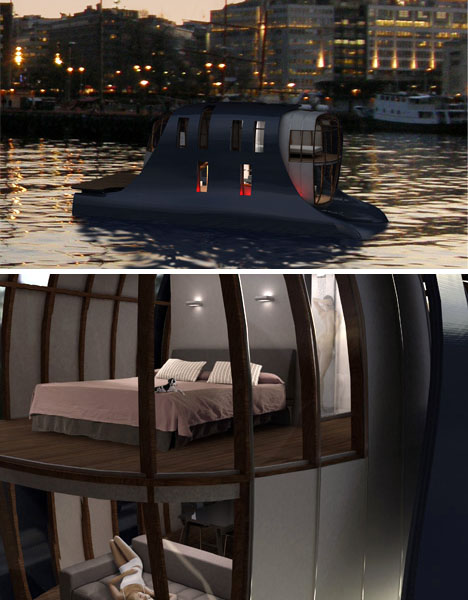 floating house boat design