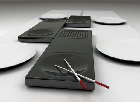 futuristic tabletop cookware set