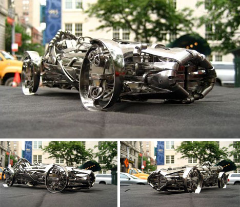 recycled metal folk art car