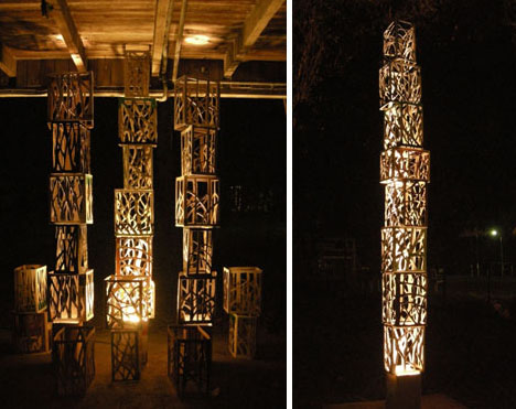 recycled wood crate lights