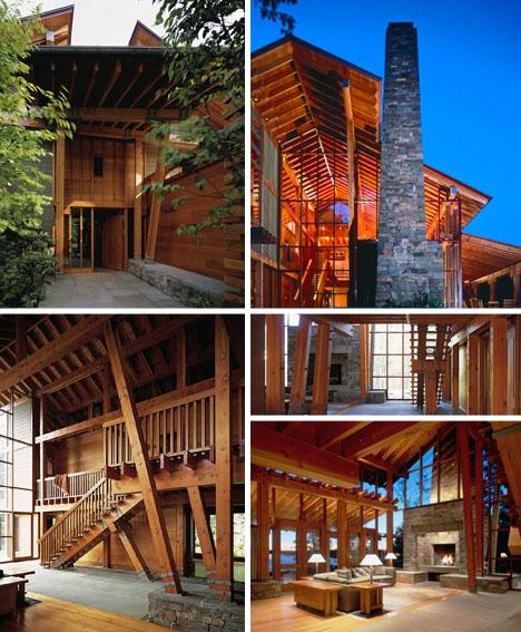 rustic wood timber lodge