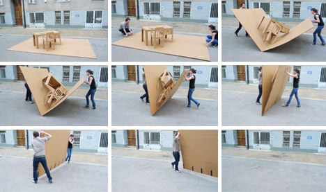 Portable pop up office all in one cardboard furniture set for Mobile furniture design
