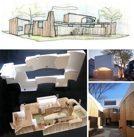 modern wood white home models drawings