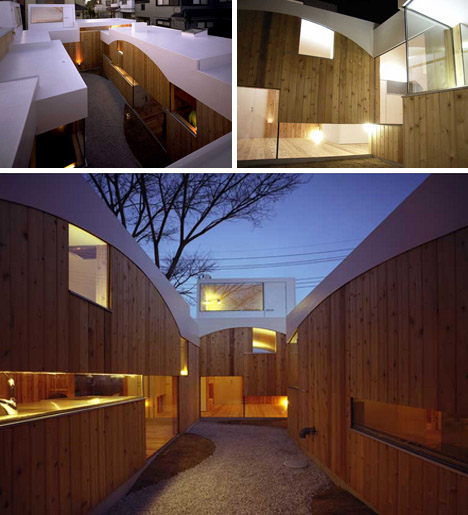 modern wood white house night