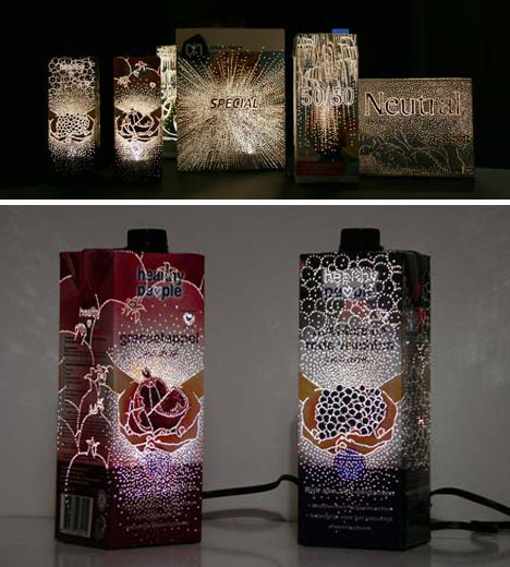 recycled product packaging lamps