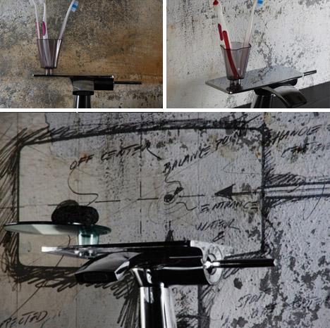 retro futuristic rustic bathroom faucet