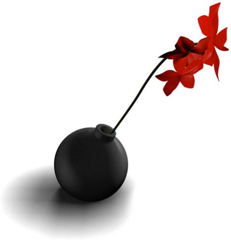round black bomb vase