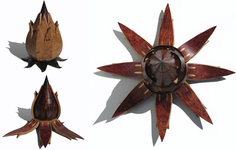 sculptured wood lotus storage