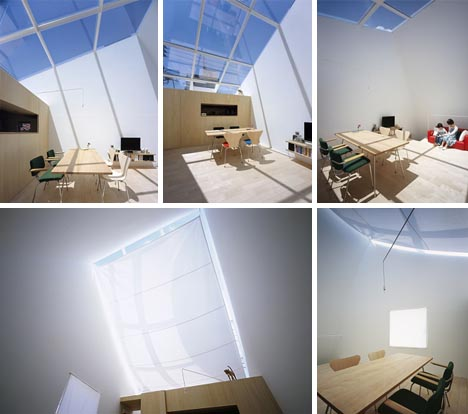 tilting tower house interior skylight