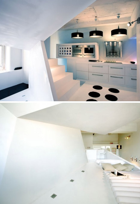 black white interior angled design