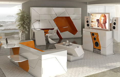 Home in a box 5 room solutions for living in small spaces - Space saving solutions for small homes set ...