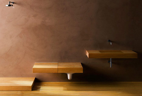 Stealth Bathroom: Wood Shelves Hide Secret Toilets & Sinks