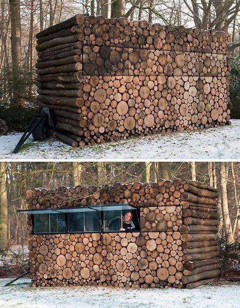 Modern mobile log cabin or portable prefab pile of logs for Log cabin gunsmithing
