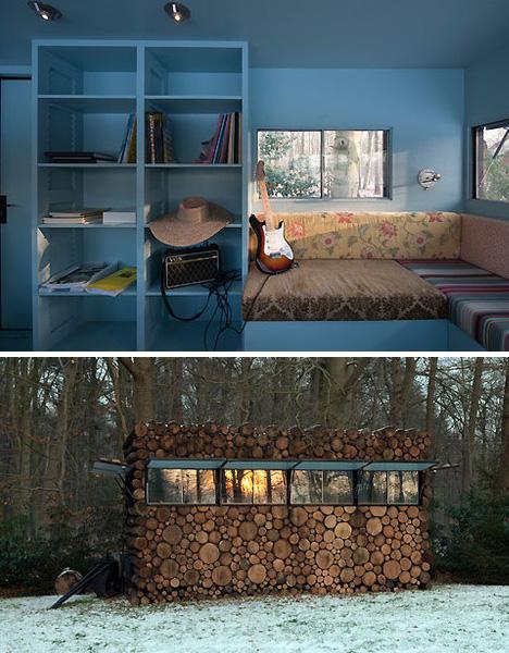 Modern mobile log cabin or portable prefab pile of logs for Log cabin interiors modern