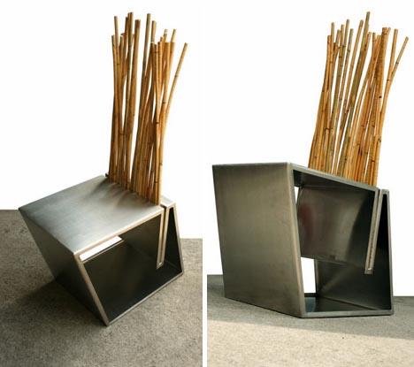 . natural wood and metal furniture