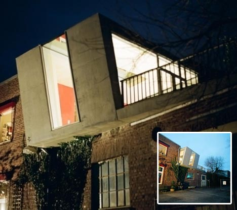 Concrete Cantilever Small Brick Home Second Story Box