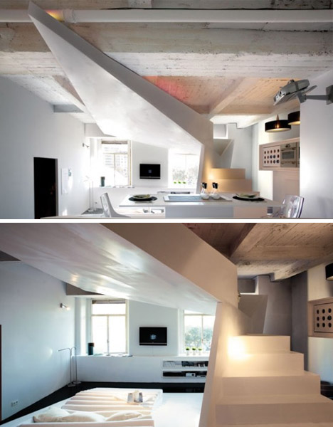 white black concrete interior design
